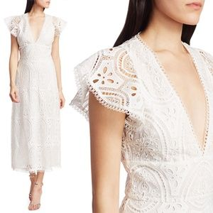 ML Monique Lhuillier Eyelet Lace Dress